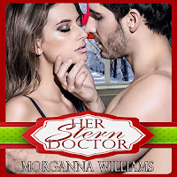 Her Stern Doctor audiobook cover. A young man and woman embrace, heatedly