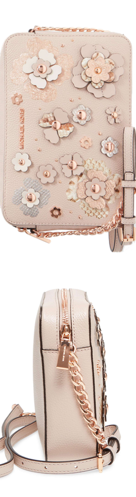 MICHAEL Michael Kors Jet Set Floral Embellished Leather Crossbody Bag