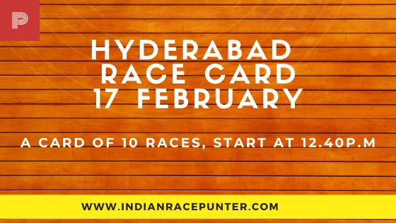Hyderabad Race Card  17 February, Race Cards,