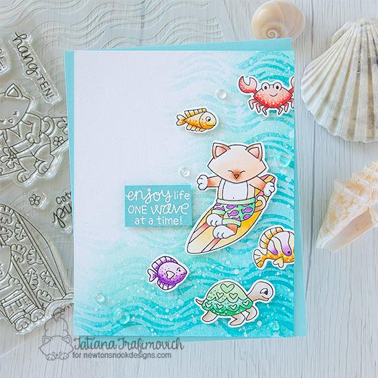 One Wave at a Time Card by Tatiana Trafimovich | Newton's Perfect Wave Stamp Set, Tides of Love Stamp Set and Waves Stencil by Newton's Nook Designs #newtonsnook #handmade