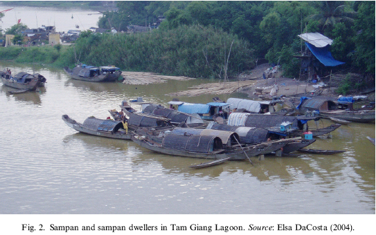 A van of Sampans in Tam Giang Lagoon