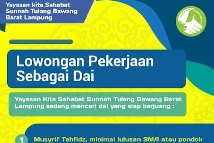 Lowongan Pekerjaan Dai, Guru Bahasa Indonesia, Admin & Marketing Online, Desain Grafis, Penjaga Toko, Musyrifah, Musyrif, Spinter, Customer Service, Koki, Teknisi