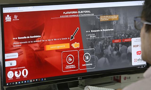 JNE presenta plataforma para que ciudadanía conozca listas de candidatos