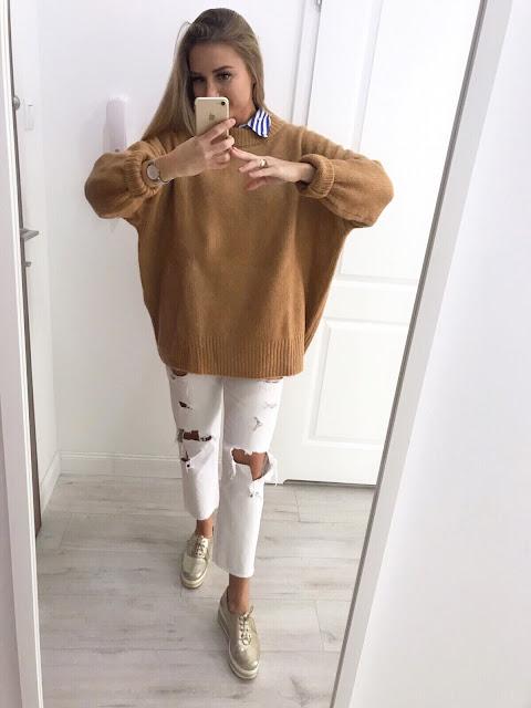 Fashion moda zara wojas swetr jesienny jesienna depresja chandra zajęcie pasja ciepły sweter camel kolor jesieni oversize Sweater camelowy