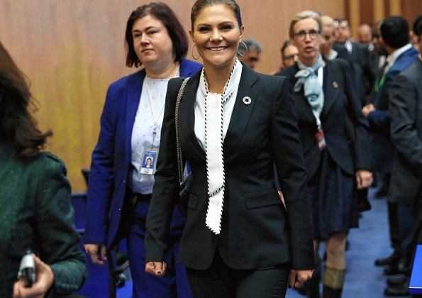 Crown Princess Victoria attended IAEA Ministerial Conference at Vienna International Atomic Energy Agency Centre. wore black blazer