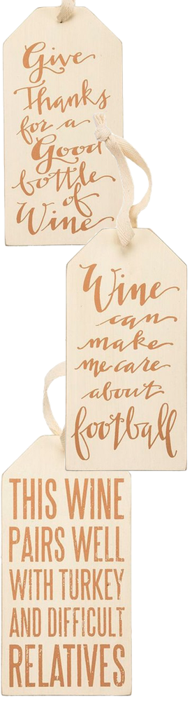 PRIMITIVES BY KATHY Thanksgiving Wine Bottle Tags (Set of 3)