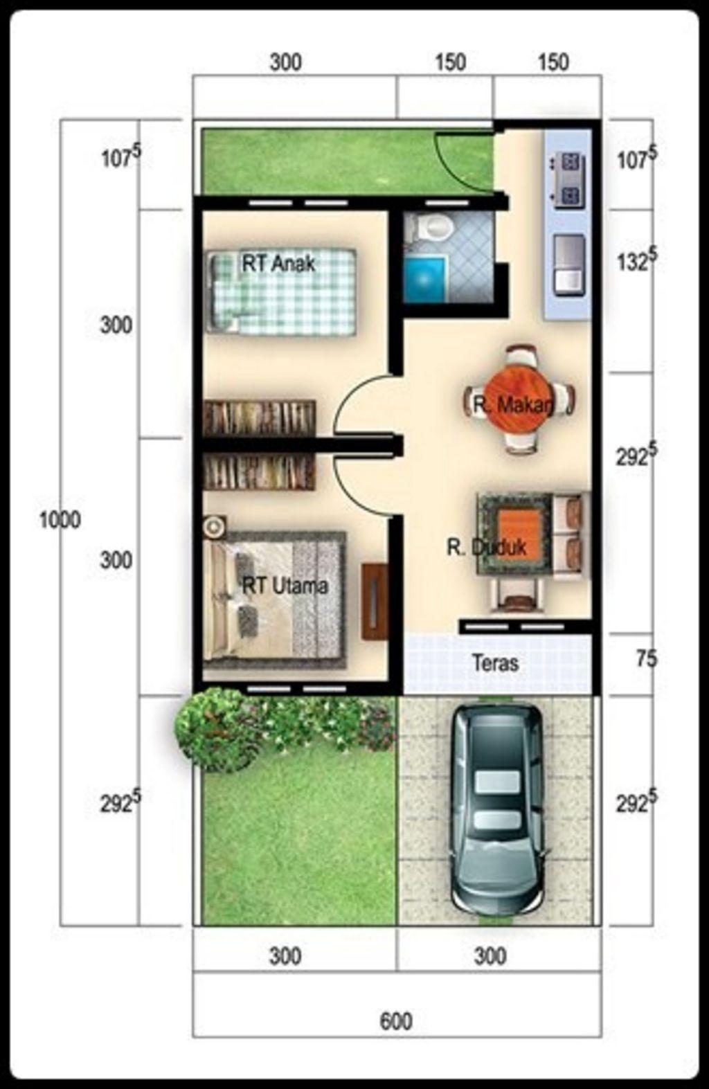 gambar denah rumah type 27 kreatif