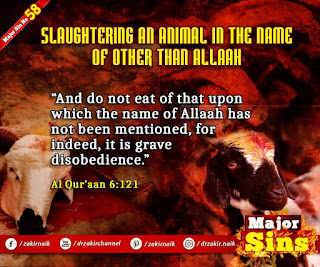 MAJOR SIN. 58. SLAUGHTERING AN ANIMAL IN THE NAME OF OTHER THAN Allah