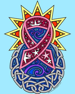 Awareness ribbon- colored version, sun, moon and stars