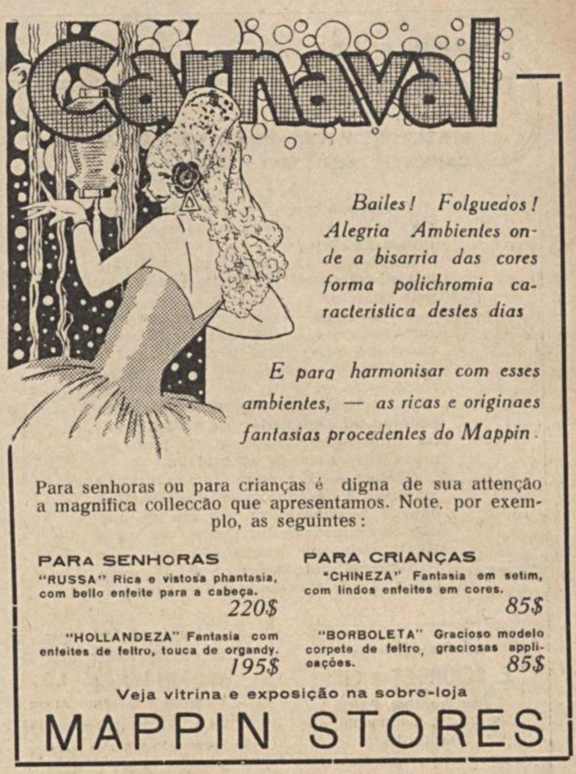 Anúncio de 1933 promovia a venda de fantasias de carnaval na Mappin Stores