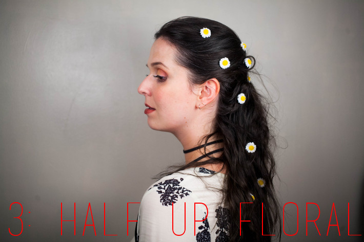 Festival hair: floral spin pins