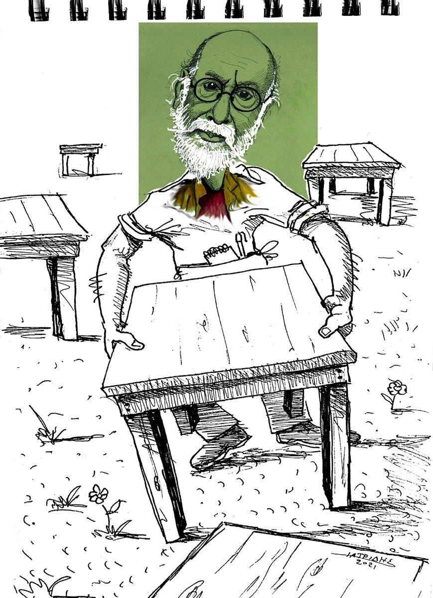 anoikse i estiasi trapezakia eksw dionysis savvopoulos skitso karikatoura geloiografia estiatorio taverna bar kafeteria tourismos