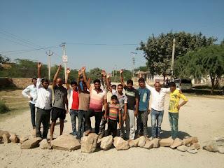मावण्डा खुर्द में लगाया जाम, ग्रामीणों की मांग लाका की नांगल, गांवली सड़क का हो पुन:निर्माण