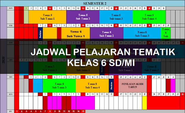 Jadwal Pembelajaran Tematik Kelas 6 SD/MI Tahun Pelajaran 2019/2020