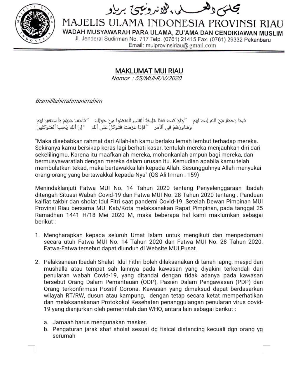 Maklumat MUI Riau nomor 55/MUI-R/V/2020
