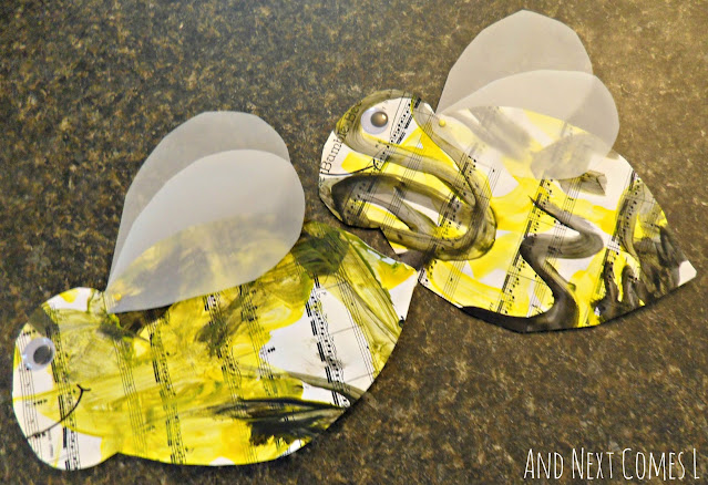 Easy bee crafts for kids inspired by Flight of the Bumblebee