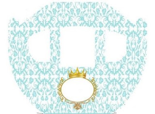 Golden Crown in Light Blue: Princess Carriage Shaped Free Printable Boxes.