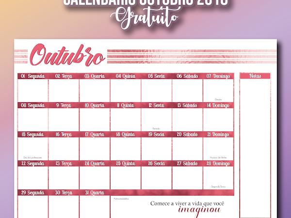 Calendário outubro rosa gratuito para download