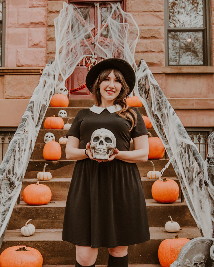Cute fall pumpkin patch outfits — Wednesday Addams dress — Pumpkin patch attire — What to wear to the pumpkin patch