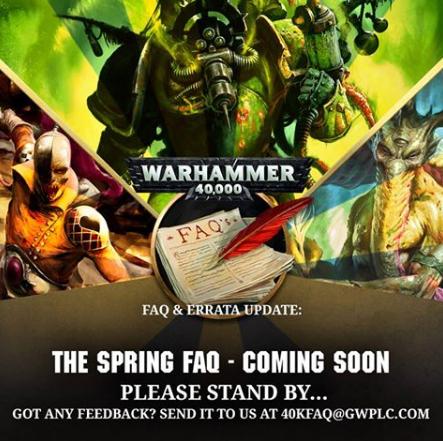 March Warhammer 40,000 FAQ Delayed