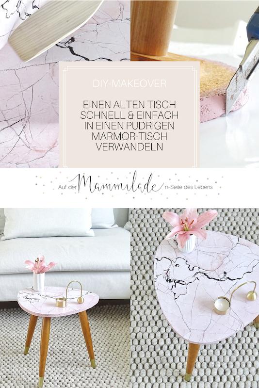 DIY-Makeover: Vintage-Beistelltisch bekommt einen Marmor-Look in Rosé | Fotoaktion #12von12 - 1 Tag in 12 Bildern | https://mammilade.blogspot.de