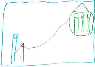 re oben in einem Haus drei lachende Männchen. Links eine Mutter, daneben ein Sohn, sein Arm reicht bis zum Haus.