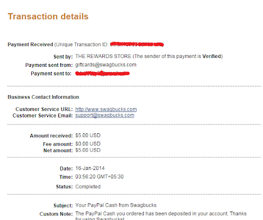 Swagbucks Obsession: Payment Proof from Swagbucks $5