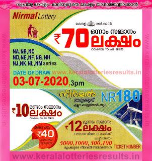 Kerala Lottery Result 03.07.2020 Nirmal Lottery Results NR 180-keralalotteriesresults.in