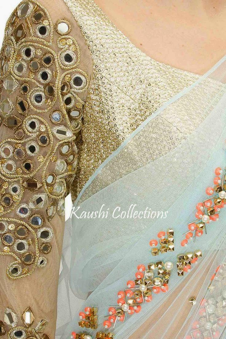 Sparkling fashion mirror work sarees blouses