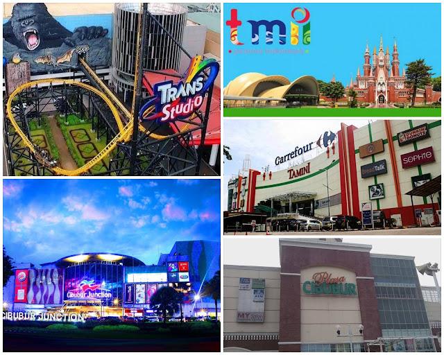 taman mini indonesia indah, trans studio cibubur, cibubur junction, tamini square, cibubur plaza