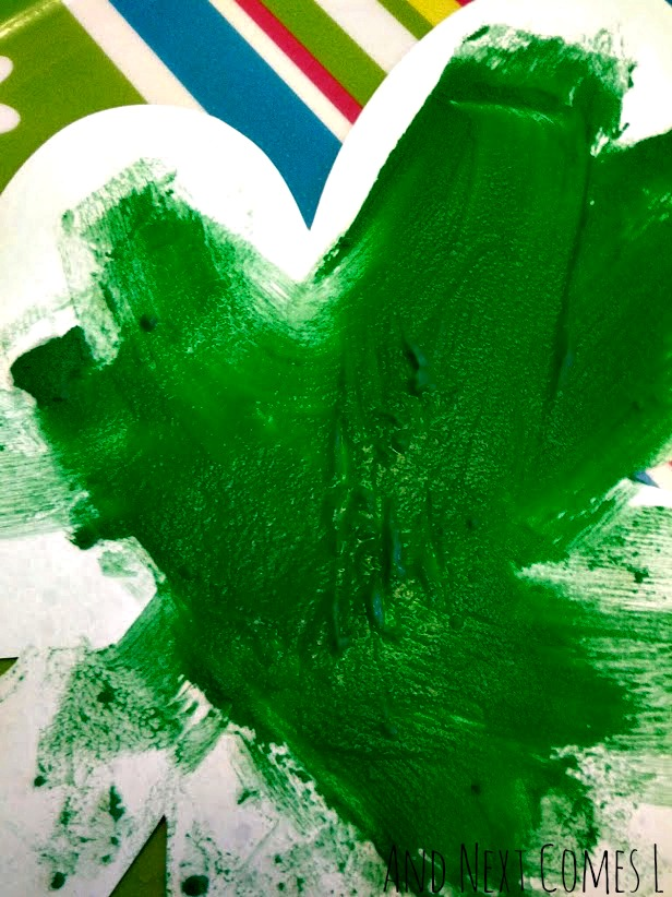 Close up of the fizzing action on the fizzing shamrock art for St. Patrick's Day from And Next Comes L