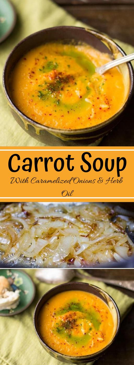 VEGAN CARROT SOUP WITH CARAMELIZED ONIONS #vegan #vegetarian #healthydiet #soup #carrot