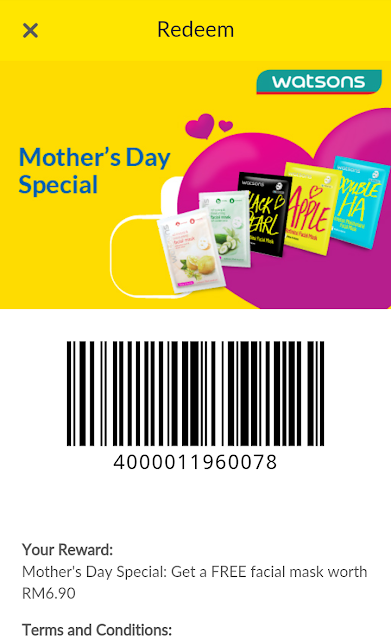 Digi Rewards Free Watsons Facial Mask Mother's Day Promo