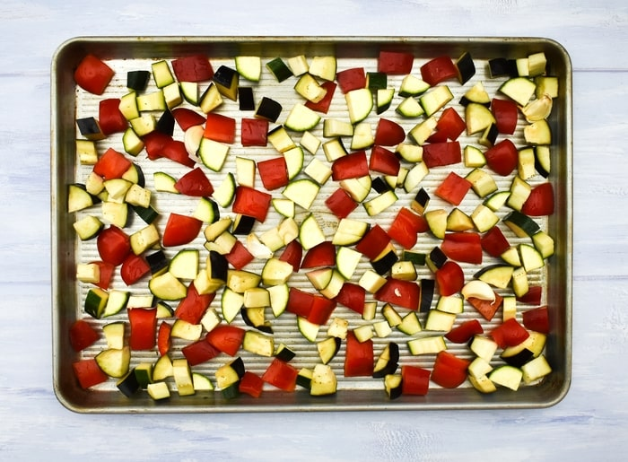 How to make ratatouille pasta - step - 1 - chopped vegetables