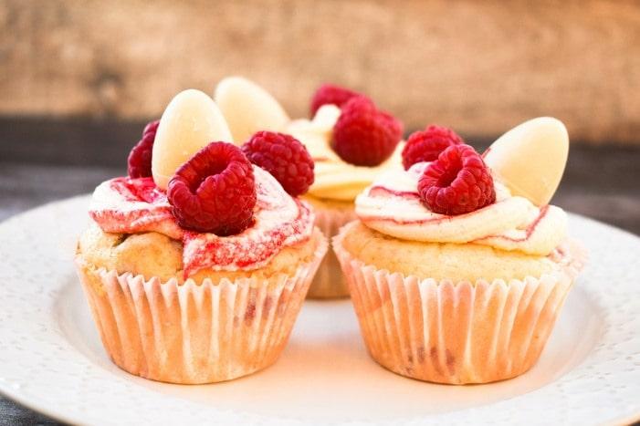 Easter Raspberry & White Chocolate Cupcakes