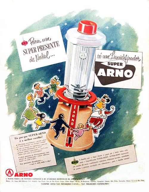 Propaganda antiga da Arno promovendo seu liquidificador no Natal de 1955