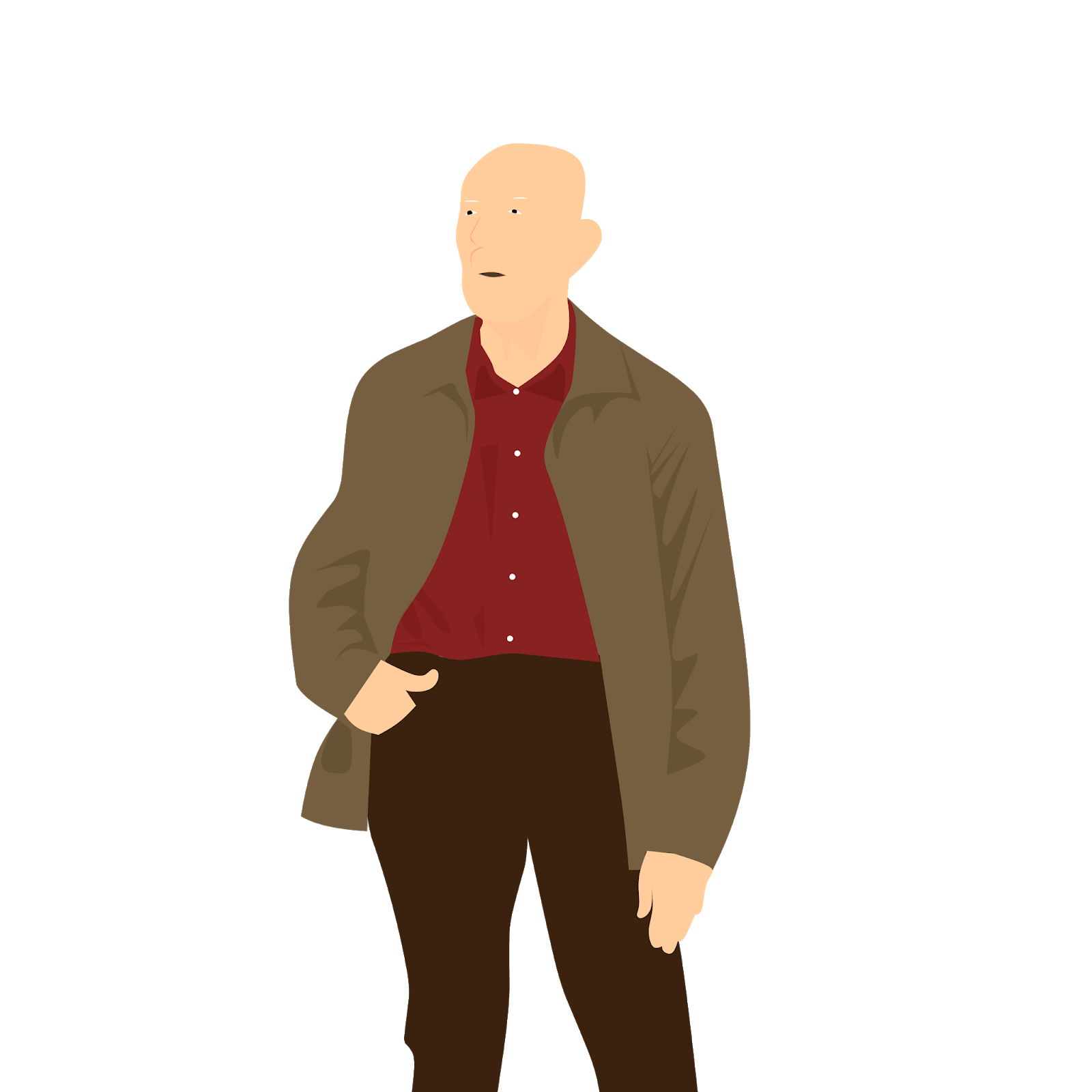 illustrations of elderly old person retired