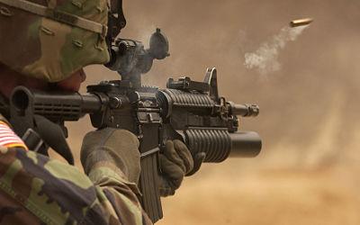 Soldat US Army Tir Colt M4 - Fond d'écran en Full HD 1080p