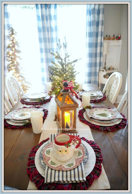 Cottage- Farmhouse -Christmas- Dining -Room -Santa-Mug-Place-Setting-Tablescape-From My Front Porch To Yours