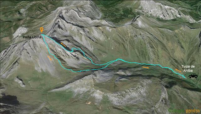 Ruta señalizada en el mapa a Peña Ubiña Subiendo por el espolón Este.