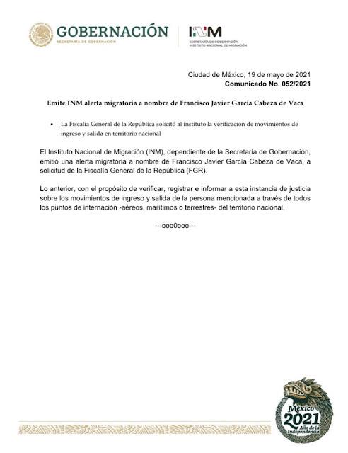 Emite INM alerta migratoria a nombre de Francisco Javier García Cabeza de Vaca