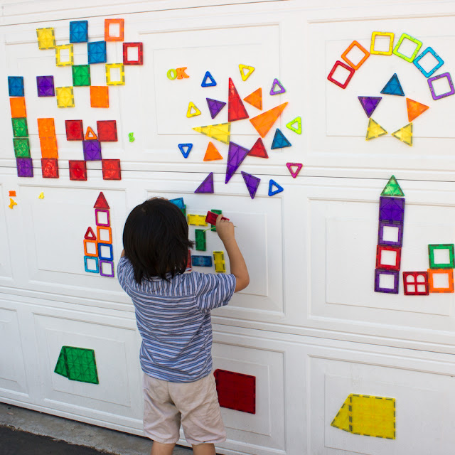 Using Magnetic toys to make giant murals on your garage wall- Easy and Fun Family Process Art Idea