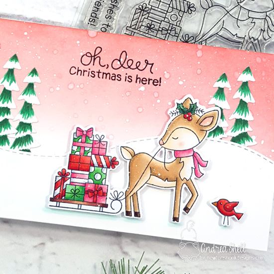 Oh Deer, Christmas Card by Andrea Shell | Deer Friend Stamp Set, Festive Fawns Stamp Set, Forest Scene Builder Die Set and Land Borders Die Set by Newton's Nook Designs #newtonsnook #handmade