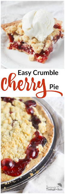 Cherry pie crumbles are great for parties, potlucks and family gatherings. Featured on a cherry pie round up on FizzyParty.com