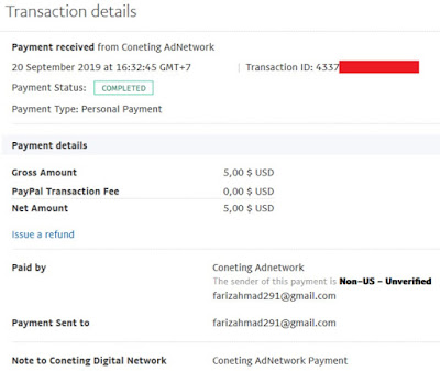 Coneting Adnetwork Payment proof
