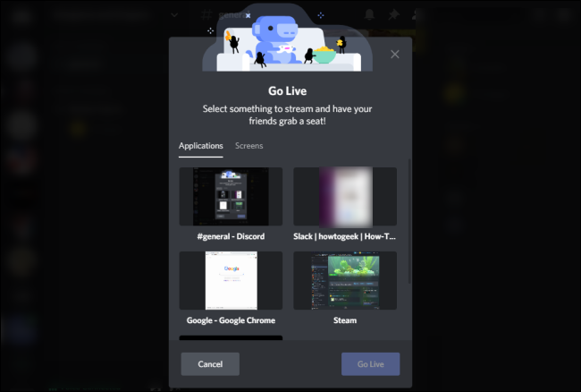 حدد Discord Go Live Screen