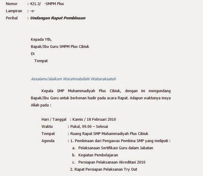 Contoh Surat Pemanggilan Orang Tua Wali Murid