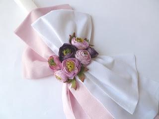 σετ βάπτισης με λουλούδια ροζ λευκό για κοριτσάκι