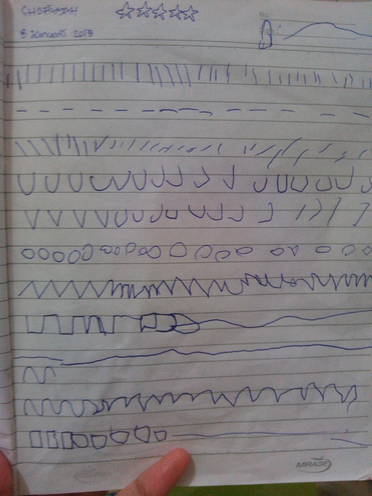 Shofiyyah sebenarnya sudah mengenal huruf dan angka Hanya saja ketika ingin menuliskannya masih sangat kaku Maka jadilah latihan menulis kali ini untuk