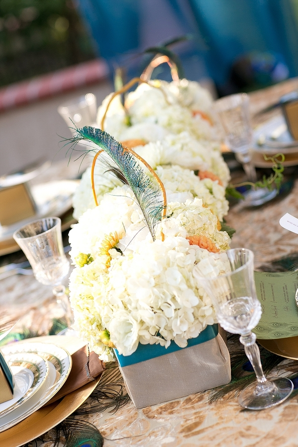 feather+wedding+theme+inspiration+blue+teal+turquoise+beige+champagne+green+reception+table+centerpiece+table+place+setting+escort+card+cards+bouquet+bridesmaids+dresses+bridal+dress+gown+meghan+wiesman+photography+16 - Show your feathers!